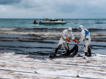 Spilled oil cleaning, Rayong, Thailand 1 Stock Photo