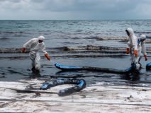 Spilled oil cleaning, Rayong, Thailand 4 Stock Images
