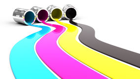 Spilled paint. Spilled Cyan, Magenta, Yellow and Black paint stock illustration