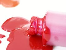Spilled paint. Red spilled paint and orange spilled paint shallow dof Royalty Free Stock Photos