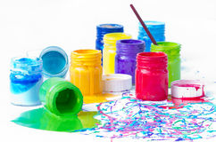 Spilled paint bottles Royalty Free Stock Images