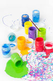Spilled paint bottles Stock Photos