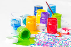 Spilled paint bottles Royalty Free Stock Photography