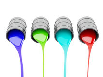 Spilled Paint Cans on white background Royalty Free Stock Images
