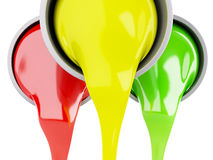 Spilled Paint Cans on white background stock illustration