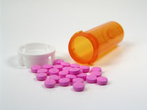 Spilled Pills. Photo of Pills and Bottle Royalty Free Stock Photos