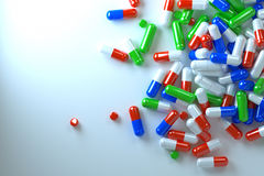 Spilled pills, a top view Royalty Free Stock Image