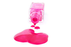 Spilled pink nail polish Stock Photo