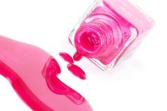 Free Spilled Pink Nail Polish On White Stock Photos - 16286913