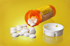 Spilled Prescription Medication Orange Pill Bottle Royalty Free Stock Photo