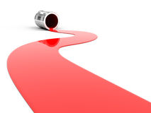 Spilled red paint. On white background. 3d render vector illustration
