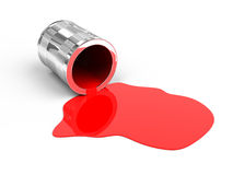 Spilled red paint. On white background. 3d render Royalty Free Stock Images