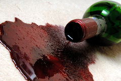 Spilled red wine. royalty free stock images