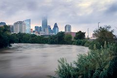 Free Spilled River And Water Flowing With Great Speed Against The Background Of The City. Effects Tropical Storm Imelda. Houston, Texas Stock Image - 159048551