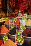 Spilled with a slide in national dishes, oriental spices. In the Turkish bazaar.cr2 Stock Photos