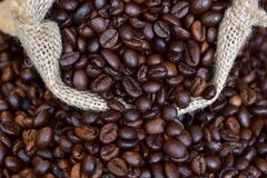 Spilled from a small jute bag fragrant fresh beans of roasted coffee close-up stock image