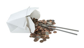 Spilled Take Out Box of Change with Chop Sticks. Spilled take out box of change with metal chopsticks - path included Royalty Free Stock Photo