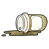 Spilled take out coffee cartoon Royalty Free Stock Image