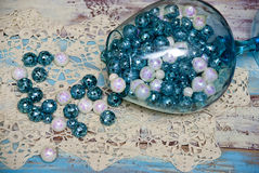 Spilled Turquoise Christmas Balls Stock Photos