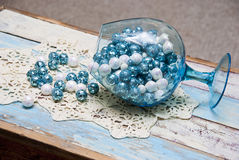 Spilled Turquoise Christmas Balls Royalty Free Stock Photo