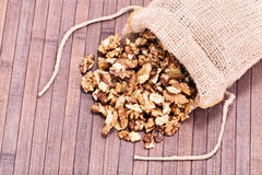 Spilled walnuts on wooden background. Walnuts spilled on a wooden background Stock Image