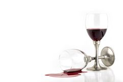 Spilled wine. Wineglass fallen down, spilling wine Royalty Free Stock Image