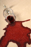 Spilled Wine on Carpet. Royalty Free Stock Photos