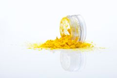 Spilled yellow makeup powder Stock Image