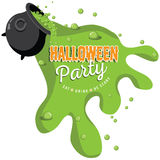 Spilling Cauldron Halloween party invite Stock Photo