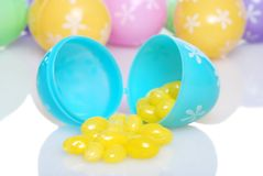 Spilling Yellow Jelly Beans Shallow Dof Royalty Free Stock Photo