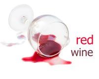 Spillt exponeringsglas av wine Arkivbilder