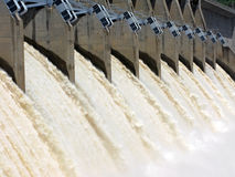 The spillway. Water thundering through a dam spillway after the spring rains royalty free stock photos