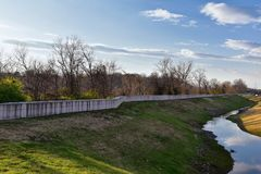 Free Spillway And Flood Barrier Views Of Metal Dike To Protect From Flooding By Opryland Along The Shelby Bottoms Greenway And Natural Stock Image - 144228191