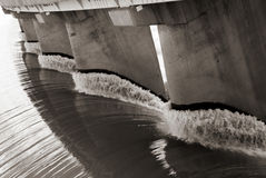 Spillway. Black and white view from one side of the wall of famous Gariep Dam near Norvalspont in South Africa Stock Images