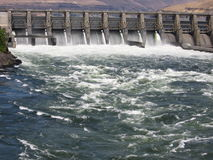 Spillway. At The Dalles Dam on the Columbia River Stock Photo