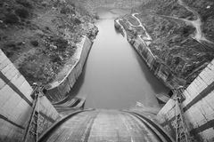 Spillway dam detail and the Duero river. Spain Royalty Free Stock Photos