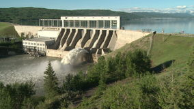 Spillway of the Ghost Hydroelectric Dam stock footage