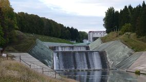 Spillway of hydro electric power dam stock footage