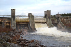 Spillway on hydroelectric power station Royalty Free Stock Photo