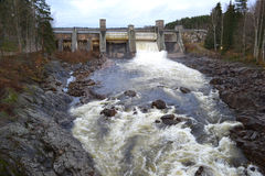 Spillway on hydroelectric power station Royalty Free Stock Photos