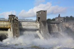 Spillway on hydroelectric power station dam in Imatra. Imatra, Finland stock photo