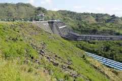 Spillway of Magat hydro electric dam in mountainous Ifugao royalty free stock image