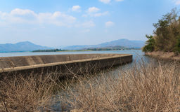 Spillway and the reservoir in Thailand. Royalty Free Stock Photos