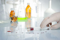 Spilt blood samples Stock Image
