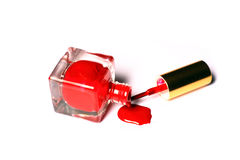 Spilt nailpolish bottle brush Stock Image