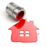 Spilt paint and house symbol. Paintig your home. 3d stock illustration