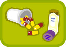 Spilt pills and a puffer. Illustration of pills and puffer on a green background stock illustration