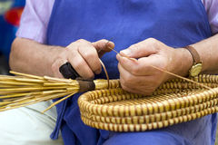 Spin basket. Craft man, conventional spin basket royalty free stock photos
