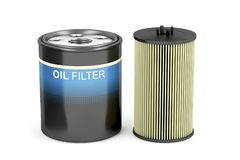 Spin-on and cartridge oil filters Stock Photos