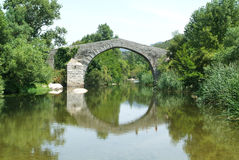 Spin'a Cavallu Genoese bridge over river Rizzanese near Sartene Stock Photos